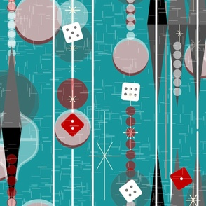 Backgammon Bling -- Retro Game Night -- Midcentury Modern Twinkle Dice with Stripes in Aqua -- Large Scale