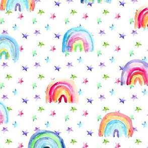 Watercolor rainbows and stars • painted colorful design for nursery