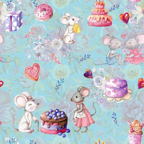 MICE AND CAKES BIRTHDAY LOVE BABY BLUE FLWRHT