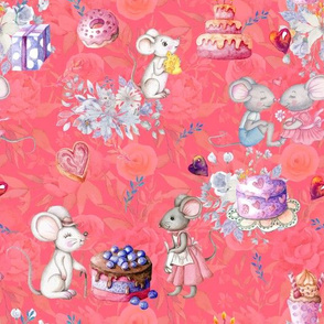 MICE AND CAKES BIRTHDAY LOVE PINK CORAL FLWRHT