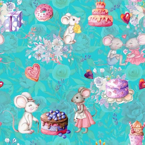MICES AND CAKES BIRTHDAY LOVE TURQUOISE AQUA FLWRHT