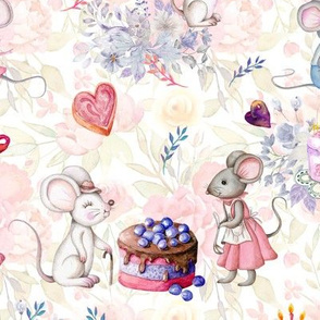 MICE AND CAKES BIRTHDAY LOVE WHITE FLWRHT