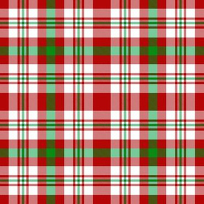 Red White and Green Christmas Plaid Small Scale