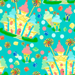 Cones castles lg polkas teal bright