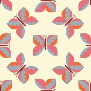 Geometric retro blue butterfly vector pattern design.