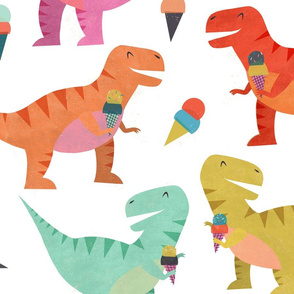 Dino I Scream Party White