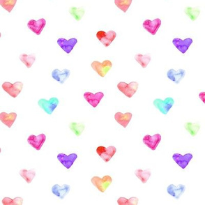 Rainbow hearts • watercolor colorful pattern for nursery