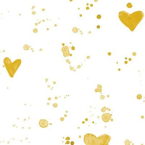 Mustard yellow hearts and splatters • watercolor painted design for modern nursery