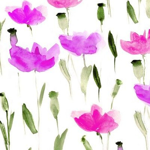 Watercolor lilac poppies • painted flowers
