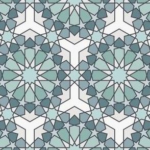 Geometric Pattern: Arabic Tiles: Seafoam