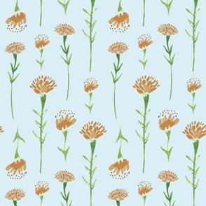 Marigolds in Blue Pattern