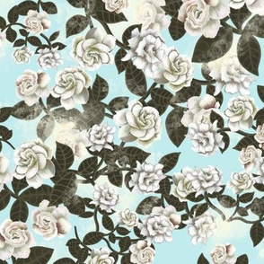 Gardenia chintz - ice blue