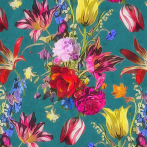 tulip chintz teal