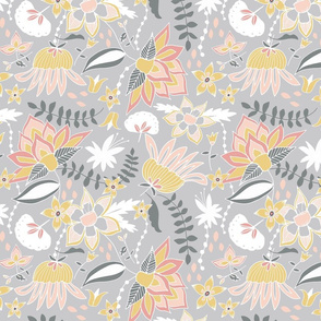 Days Gone By Gray & Pink & Yellow Floral