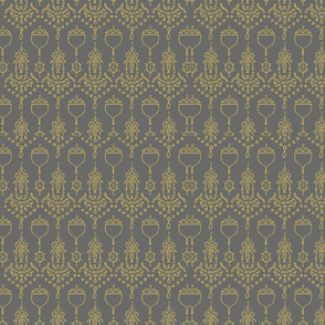 Gold Acorn Pattern2 Gray background