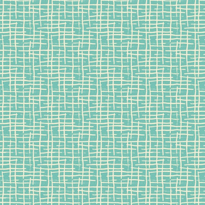 Hand Painted Teal Cream Stripes