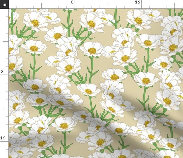 Buttercup Flowers Small Flower Floral Orange Creamy White Cotton Fabric YARD