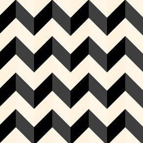 Geometric Pattern: Chevron: Light/Black/Cream
