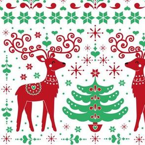 christmas folk art pattern - green