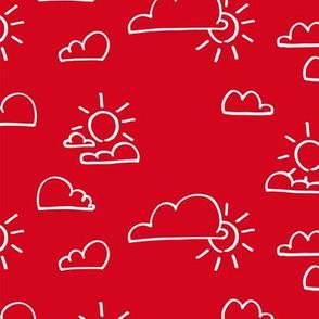 Clouds Sun Red
