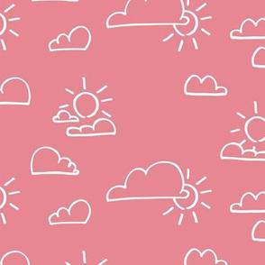 Clouds Sun Pastel Pink
