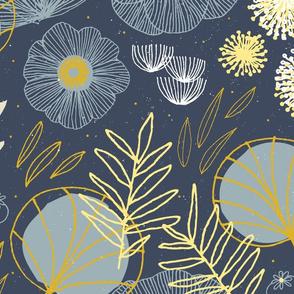 CUSTOM Wallpaper - Spring Floral Navy D by Friztin