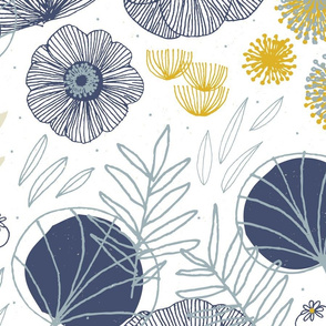 CUSTOM Fabric - Spring Floral White Navy F by Friztin