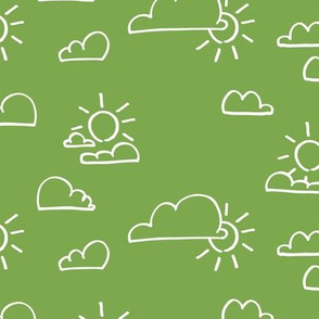 Clouds Sun Green