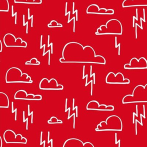 Clouds Lightning Red