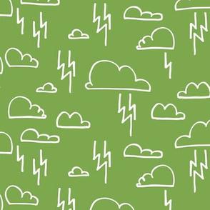 Clouds Lightning Green