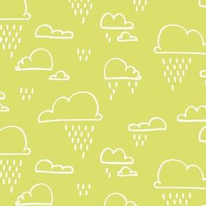 Clouds Rain Lime Green