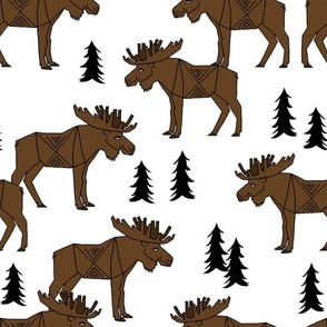 Moose Forest fabric - Dark Brown and white by Andrea Lauren