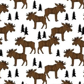 SMALL - Moose Forest fabric - Dark Brown and white by Andrea Lauren