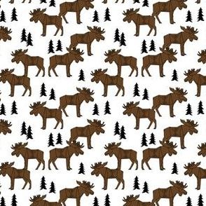 TINY  - Moose Forest fabric - Dark Brown and white by Andrea Lauren