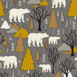 Woodland Bears - Medium - Mustard, Gray