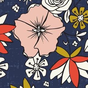 Emma - Modern Chintz Floral - Large Scale - Blue - Bohemian Floral