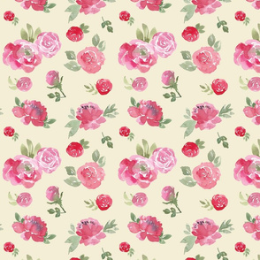 Pink and Beige Rose Chintz