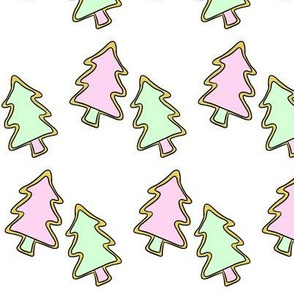 Pastel Christmas Tree Cookies