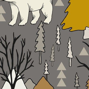 Woodland Bears - Large - Mustard, Gray