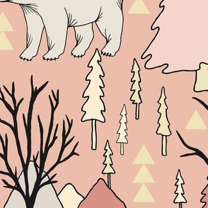 Woodland Bears - Large - Pink
