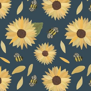 Sunflowers & Bees Water Color on Navy