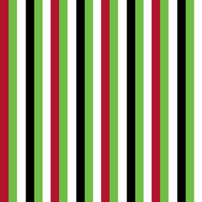 Lime Green Black White and Red Stripes