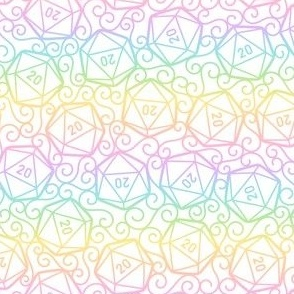 Ornate d20s in Rainbow on White