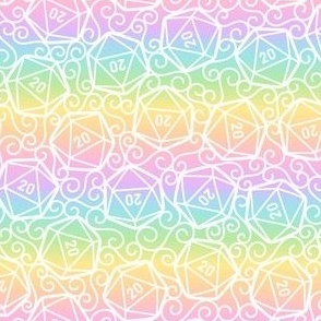 Ornate d20s in White on Rainbow