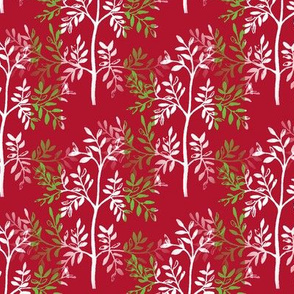 Leafy Red White Trees with Lime Green