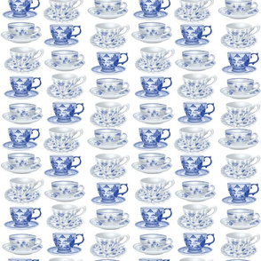 Blue and White Teacups White Back