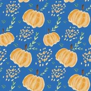 Watercolor Pumpkins in Navy