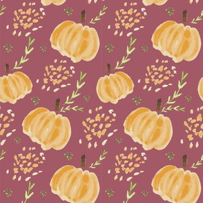 Watercolor Pumpkins in Plum