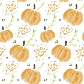 Watercolor Pumpkins in White