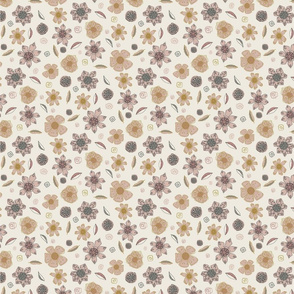 Linear Floral Flowers Pink Cream Grey Gold Contemporary Repeating Design